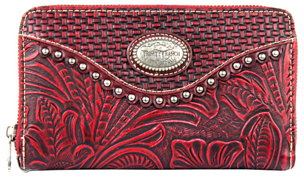 Montana West Trinity Ranch Wallet with Tooling and Basket Weave, , hi-res