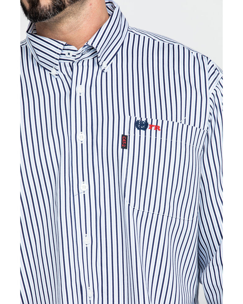 Cinch Men's FR Lightweight Vertical Striped Long Sleeve Work Shirt , Navy, hi-res