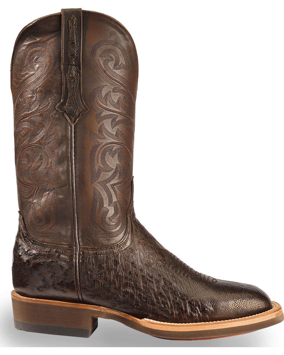 Lucchese Men's Handmade Dark Brown Lance Smooth Ostrich Boots - Square Toe , Dark Brown, hi-res