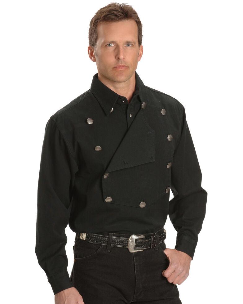 Rangewear by Scully Men's Solid Frontier Engineer Long Sleeve Western Bib Shirt, Black, hi-res