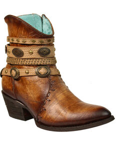 Corral Women's Zipper Studded Harness Fashion Booties - Round Toe, Dark Brown, hi-res