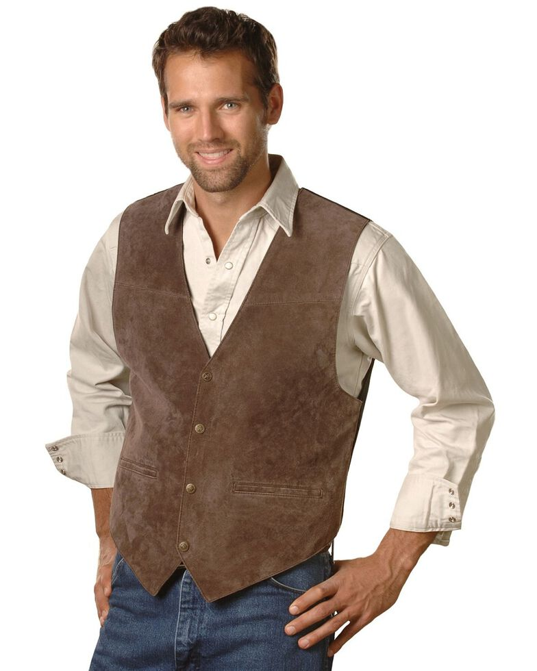 Scully Suede Leather Vest, Espresso, hi-res