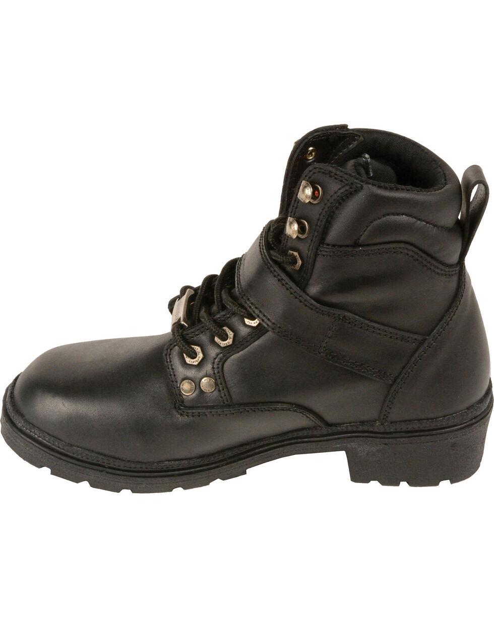 Milwaukee Leather Women's Side Buckle Plain Toe Boots - Round Toe, Black, hi-res