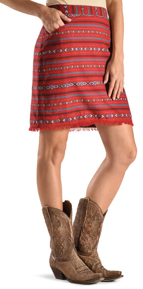 Ryan Michael Women's Cherry Navajo Blanket Skirt , Black Cherry, hi-res