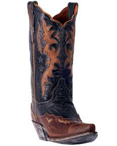 b1defe813038 Dan Post Womens Amelia Chocolate Star Wingtip Cowgirl Boots - Snip Toe