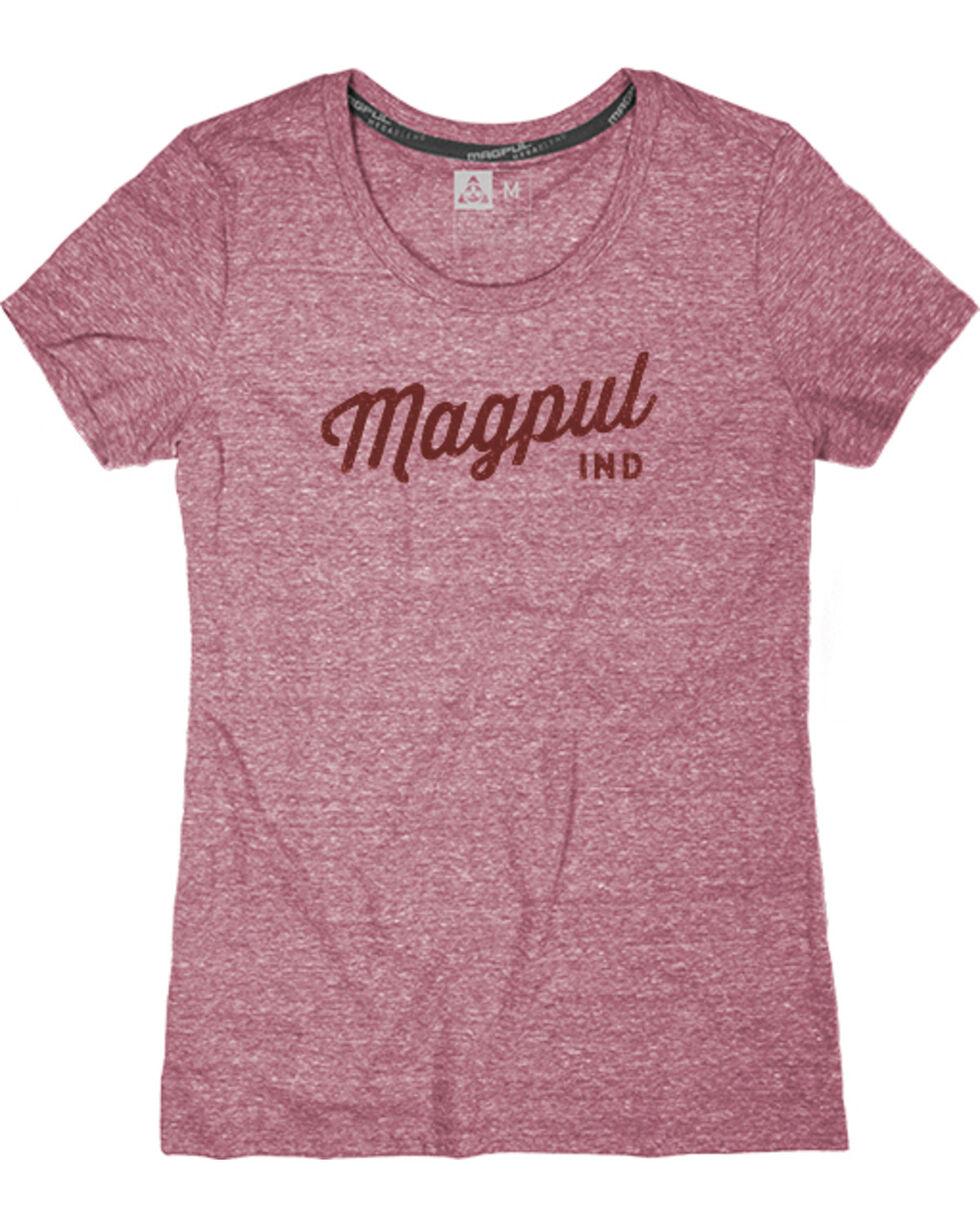 Magpul Women's Megablend Crew-Neck Rover Script T-Shirt , Wine, hi-res