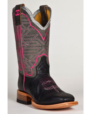 Cinch Edge Women's Eel Print Cowgirl Boots - Square Toe, Black, hi-res