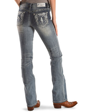 Grace in LA Women's Feather Pocket Easy Fit Boot Cut Jeans, Blue, hi-res