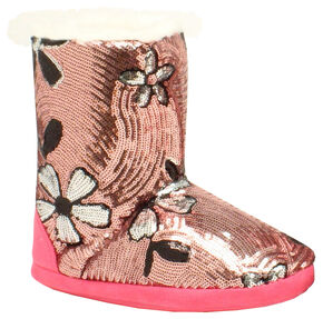 Blazin Roxx Youth Floral Sequin Slipper Booties, Pink, hi-res