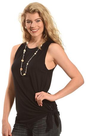 Derek Heart Women's Beauty Asymmetric Black Tank , Black, hi-res