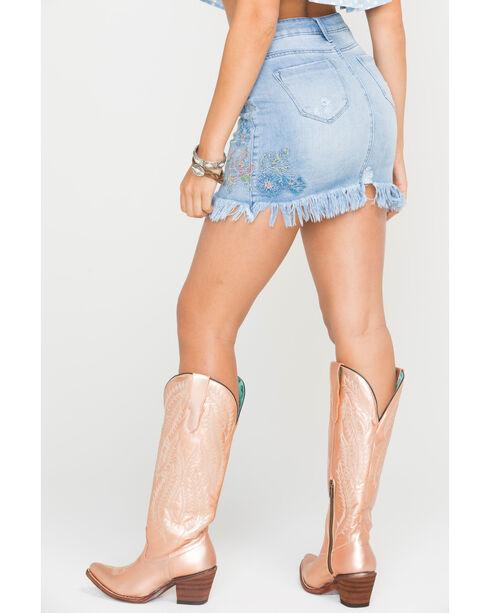 Tractr Blu Women's Indigo Frayed Hem Embroidered Skirt , Indigo, hi-res