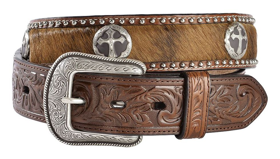 3D Cross Concho Hair-on-Hide Western Belt, Multi, hi-res