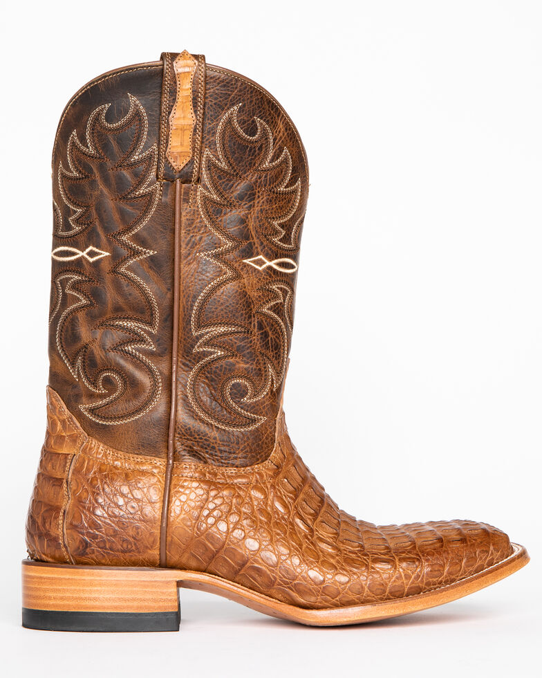 Cody James Men's Burnished Caiman Exotic Boots - Wide Square Toe, Brown, hi-res