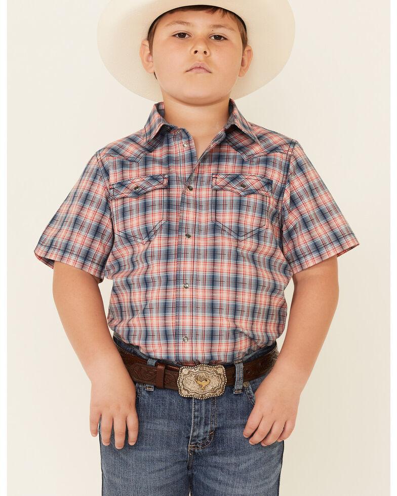 Cody James Boys' Liberty Bell Large Dobby Plaid Short Sleeve Snap Western Shirt , Navy, hi-res