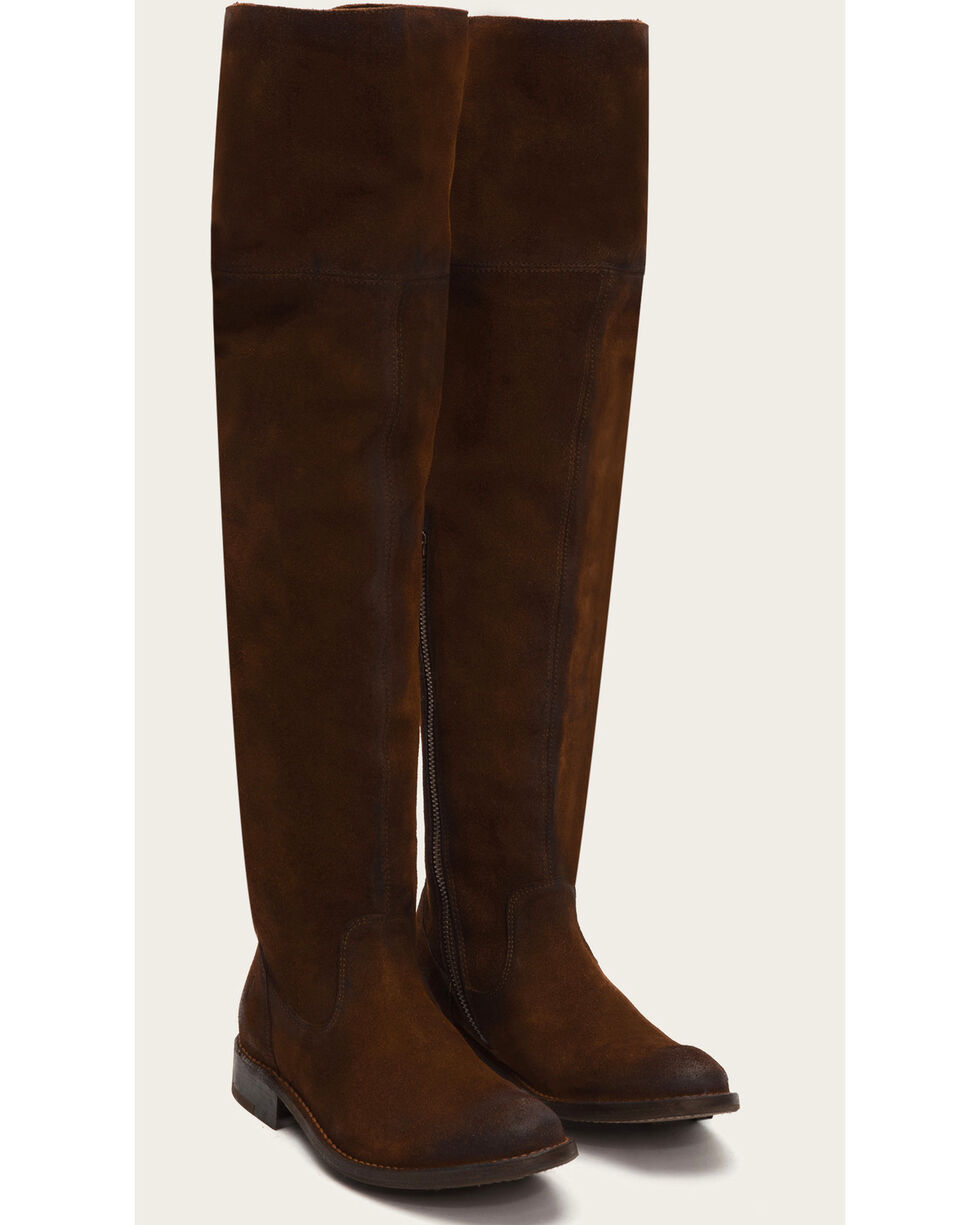 Frye Women's Brown Suede Shirley OTK Boots - Round Toe , Brown, hi-res