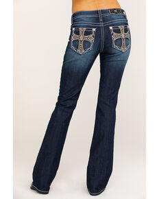 """Miss Me Women's Dark Wash Chained Cross 36"""" Bootcut Jeans , Blue, hi-res"""