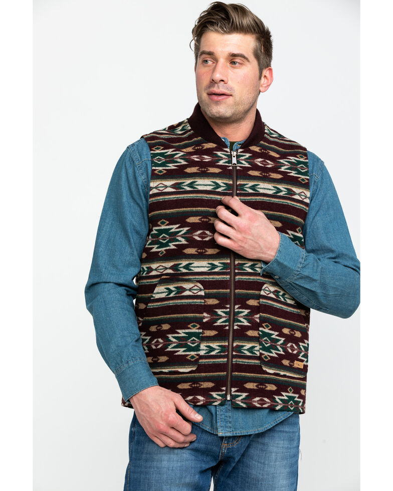 Powder River Outfitters Men's Aztec Jacquard Vest , Maroon, hi-res