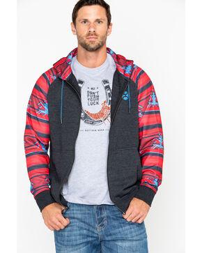 Hooey Men's Madrid Striped Sleeve Zip-Up Jacket , Grey, hi-res