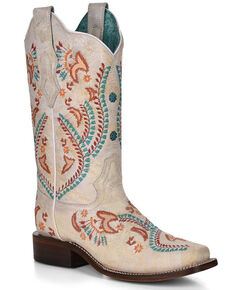 Corral Women's Turquoise Embroidery With Studs Western Boots - Square Toe, White, hi-res
