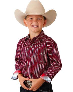 Roper Boys' Red Printed Snap Down Shirt , Red, hi-res