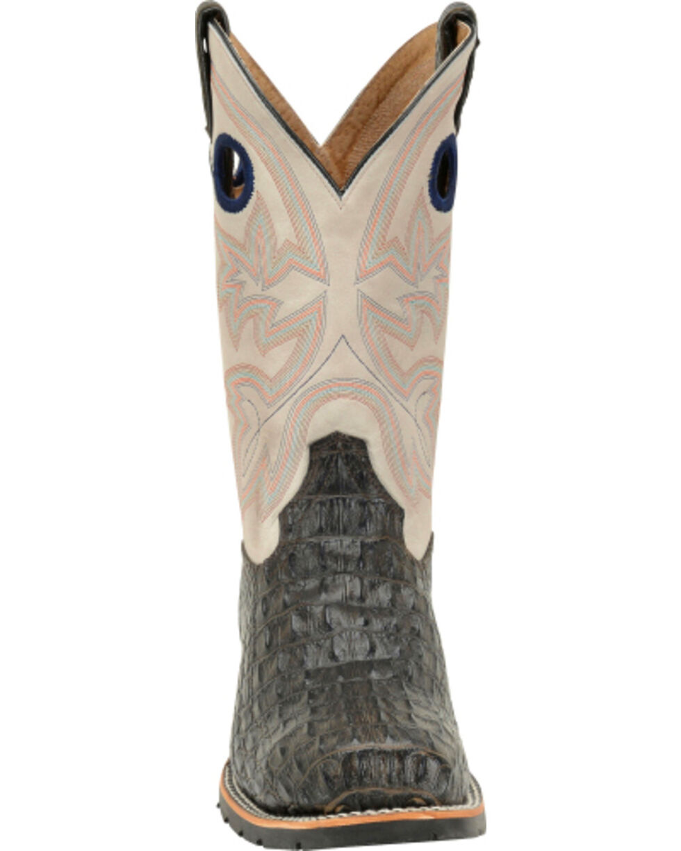 Double H Men's Chocolate Caiman Print Boots - Steel Toe, Brown, hi-res