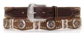 Nocona Pro Series Scalloped Cross Concho Leather Belt, Brown, hi-res