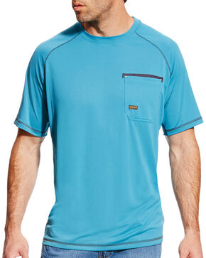 Ariat Men's Rebar Sunstopper Short Sleeve Shirt, Teal, hi-res