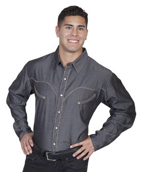 Scully Whip Stitched Denim Retro Western Shirt - Big & Tall, Charcoal Grey, hi-res