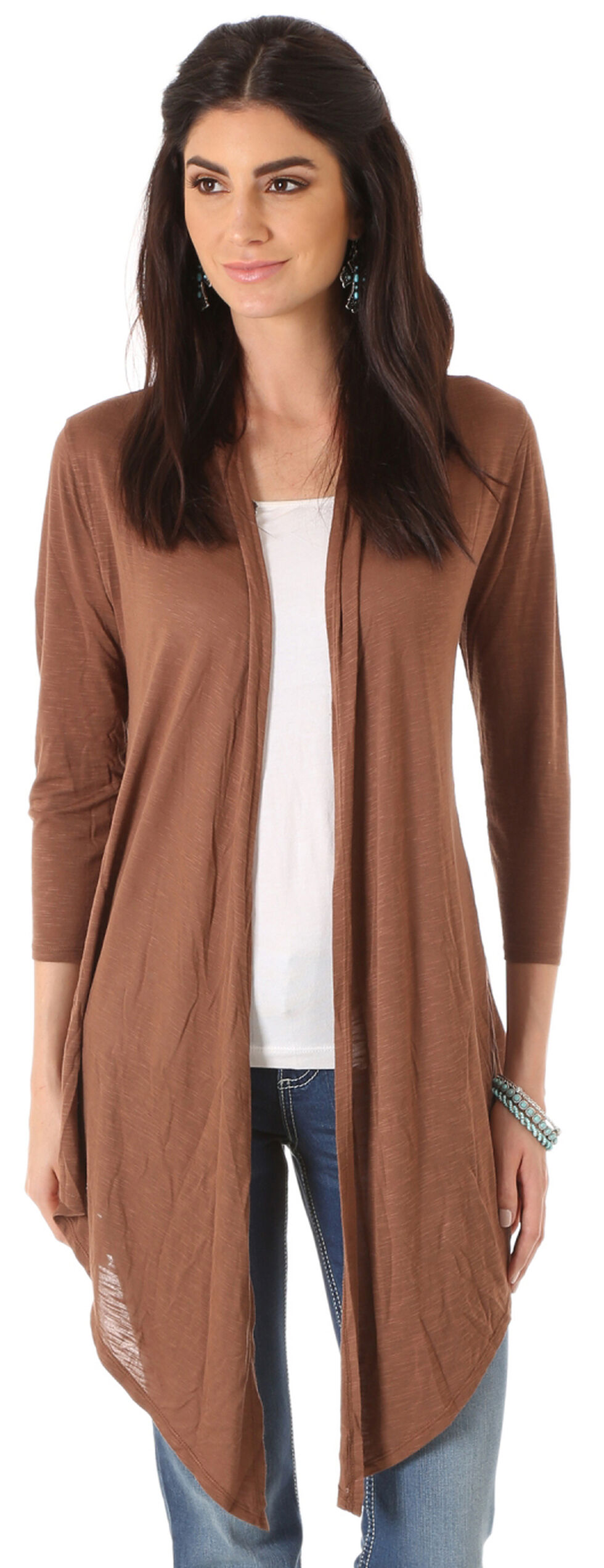 Wrangler Women's Three Quarter Sleeve Length Solid Cardigan, Brown, hi-res
