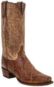 Lucchese Men's Handmade Rex Alligator Western Boots - Snip Toe, Brandy, hi-res