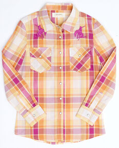 Shyanne Girls' Pink Plaid Embroidered Horse Long Sleeve Western Core Shirt , Fuscia, hi-res