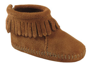 Minnetonka Infant Girls' Suede with Fringe Hook and Loop Closure Booties, Brown, hi-res