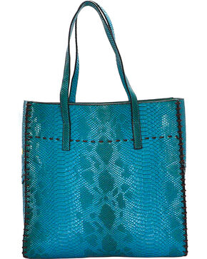 Wear N.E. Wear Women's Turquoise Snakeskin 3 Piece Tote, Turquoise, hi-res