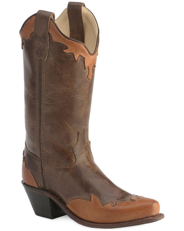 Old West Children's Wingtip  & Collar Cowboy Boots - Snip Toe, Chocolate, hi-res
