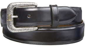 Lucchese Men's Smooth Black Goat Leather Belt, Black, hi-res