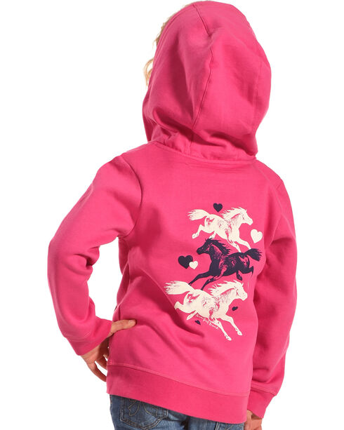 Farm Girl Girls' Pink Running Horse Hoodie , Pink, hi-res