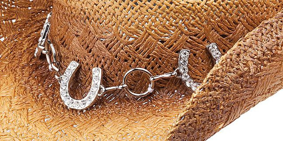 Peter Grimm Judson Horseshoe Chain Straw Cowgirl Hat, Brown, hi-res