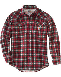 Carhartt Men's Crimson Flame Resistant Snap-Front Plaid Shirt - Tall, Red, hi-res