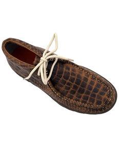 Ferrini Women's Genuine Crocodile Print Shoes - Moc Toe, Brown, hi-res