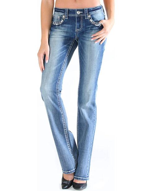 Grace in LA Women's Embroidered Pocket Jeans - Boot Cut , Medium Blue, hi-res