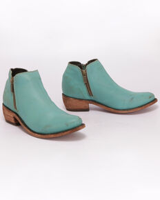 Liberty Black Women's Solido Turqueza Western Booties - Round Toe, Turquoise, hi-res