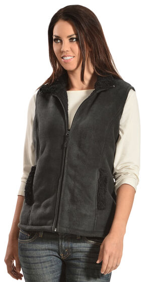 Jane Ashley Sherpa Fleece Vest, Black, hi-res
