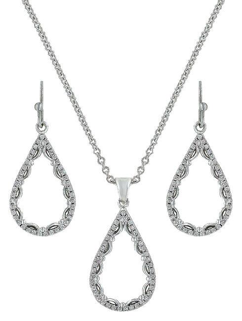 Montana Silversmiths Laced Teardrop Jewelry Set , Silver, hi-res