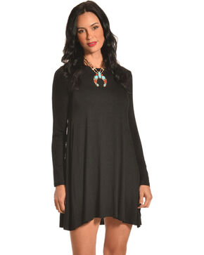 Derek Heart Women's Riva's Long Sleeve Swing Dress, Black, hi-res
