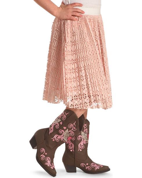 Idol Mind Girls' Pleated Laser Cut Skirt, Pink, hi-res