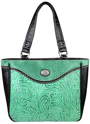 Montana West Trinity Ranch Floral Leaf Pattern Concealed Handgun Collection Handbag, Turquoise, hi-res
