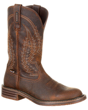 Rocky Men's Riverbend Waterproof Western Boots - Round Toe, Brown, hi-res