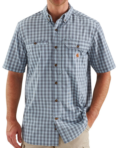 Carhartt Force Men's Plaid Ridgefield Solid Short Sleeve Shirt, Blue, hi-res