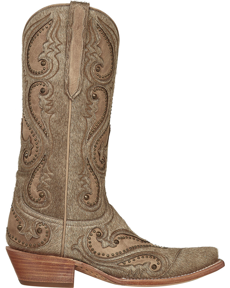 Lucchese Handmade Natural Lyla Calf Hair Cowgirl Boots - Snip Toe , Natural, hi-res