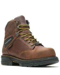 Wolverine Men's Hellcat Waterproof Work Boots - Soft Toe, Brown, hi-res